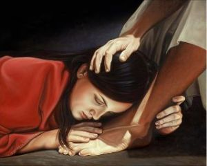 girl kissing Jesus feet