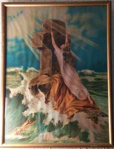 "This antique picture hangs in my living room - over 20 years ago I also wrote a song based on my feelings over having this wonderful picture in my home - ""Clinging to the Cross"""